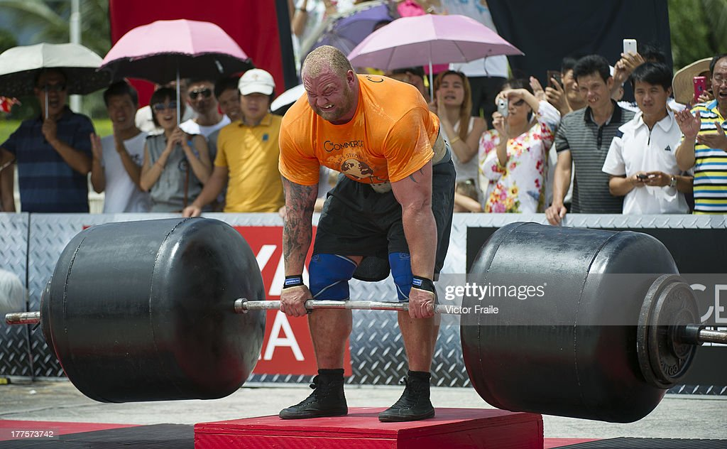 Hafthor Bjornsson of Iceland competes at the Deadlift for Max event during the World's Strongest Man competition at Yalong Bay Cultural Square on August 24, 2013 in Hainan Island, China.