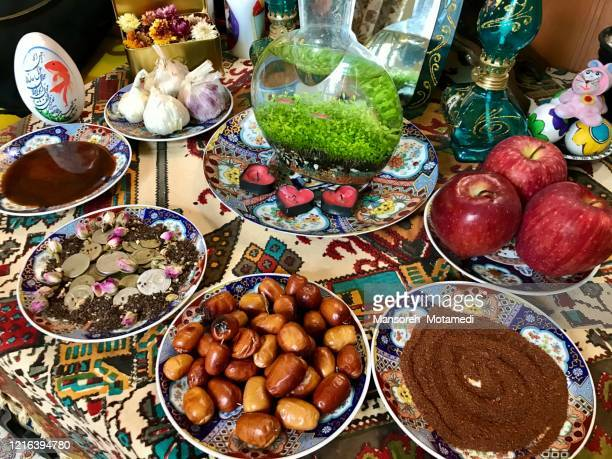 haft-sin symbolism - iranian culture stock pictures, royalty-free photos & images