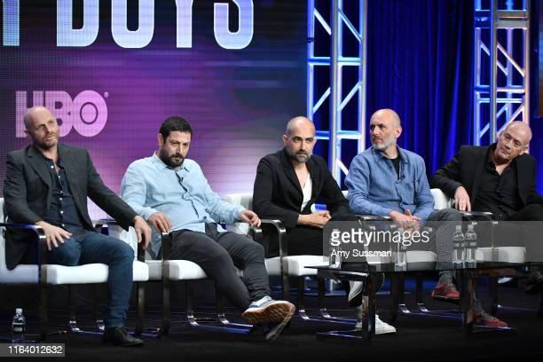 Hagai Levi Tawfik Abu Wael Shlomi Elkabetz Joseph Cedar and CEO of Keshet Media Group Avi Nir of 'Our Boys' speak during the HBO segment of the...