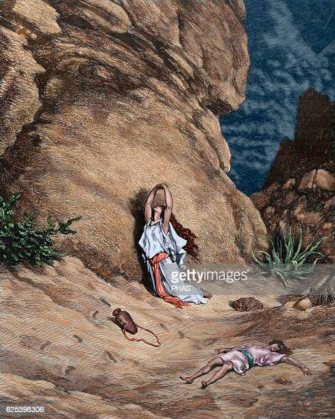 Hagar and Ishmael in the desert Book of Genesis Old Testament Engraving by Gustave Dore Colored