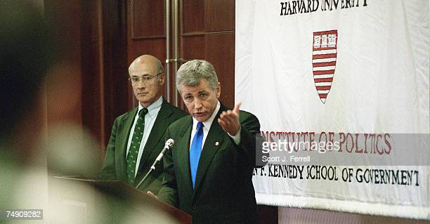 After delivering his speech on American foriegn policy in the post-Cold War era at Harvard University's John F. Kennedy School of Government, Sen....