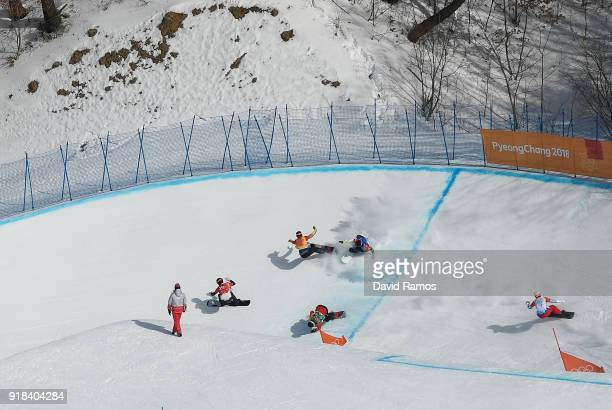 Hagen Kearney of the United States leads the pack as Lluis Marin Tarroch of Andorra Adam Lambert of Australia and Christopher Robanske of Canada...