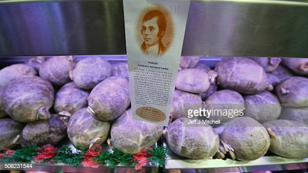 Haggis for sale at Crombies butchers ahead of Burns night on January 22 2016 in Edinburgh Scotland People around the world will mark the Birthday...