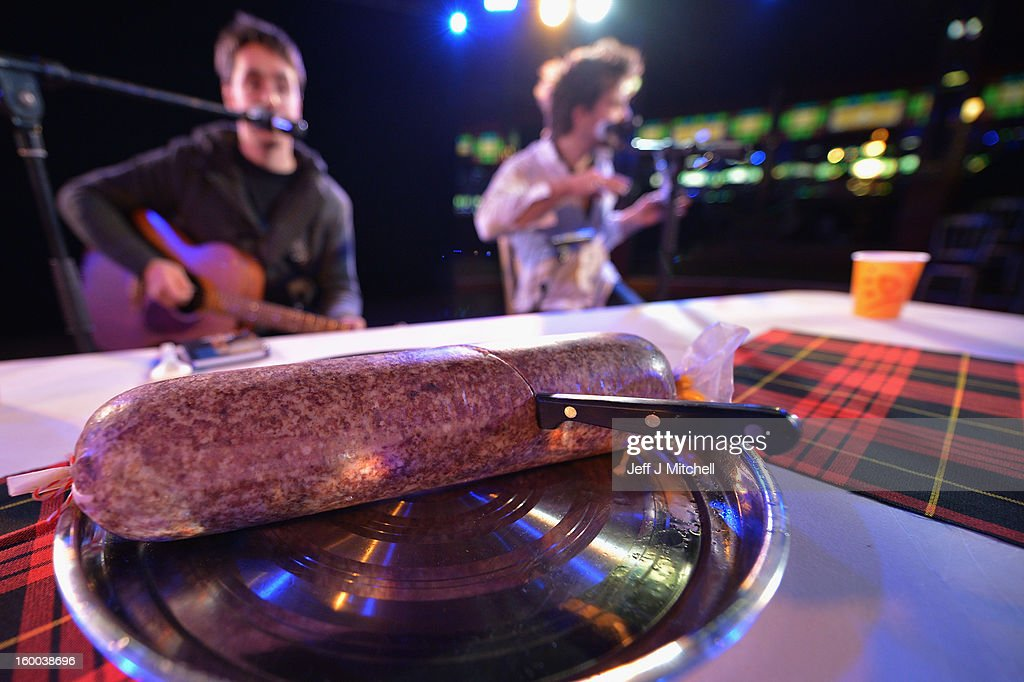 A haggis is left on a table after being cut by Grant Dinwoodie in the Spiegel tent during a 60 minute Burns Supper held as part of events taking place to celebrate the birth of poet Robert Burn on January 25, 2012 in Dumfries, Scotland. Burns suppers will be held today to commemorate the life of the poet Robert Burns, who was born on this day in 1759.