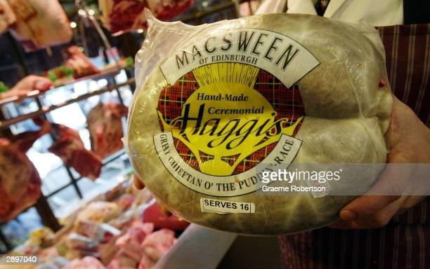 Haggis is sold at a butcher shop to people who will celebrate Burns night over the weekend January 24 2004 in London England Scots across the world...