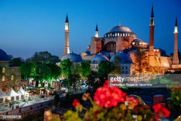 hagia sofia (aya sofia) and blue sky, istanbul, turkey. - ottoman empire stock pictures, royalty-free photos & images