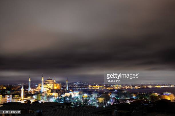Hagia Sofia mosque at night, Istanbul, Turkey
