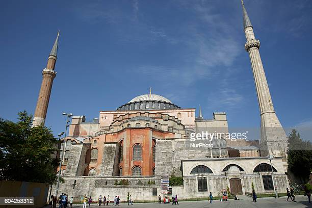 Hagia Sofia Mosque in the historical district of Istanbul Turkey on 13 September 2016 Famous in particular for its massive dome it is considered the...