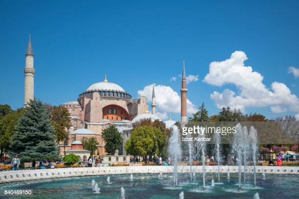 Hagia Sophia and poll seen from Sultanahmet Sqaure, Istanbul Turkey