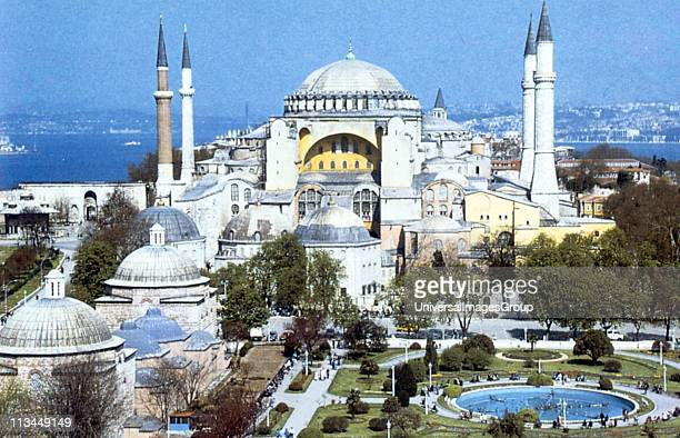 Hagia Sophia Constantinople Turkey Cathedral with domed basilica built under direction of Justinian I AD 530537 Architects Anthemius of Tralles and...