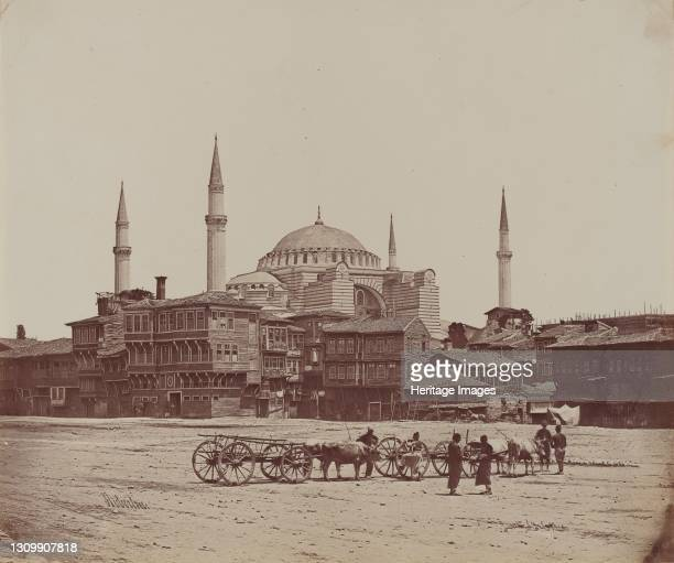 Hagia Sophia from Place l'Hippodrome, 1857. Artist James Robertson. .