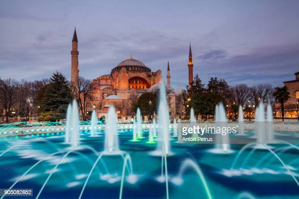 hagia sophia in the evening, istanbul, turkey - anton petrus stock pictures, royalty-free photos & images
