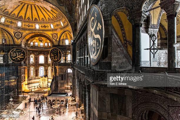 hagia sophia mosque interior, istanbul, turkey - hagia sophia istanbul stock pictures, royalty-free photos & images