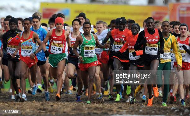 Hagos Gebrhiwet of Ethiopia in the middle of the pack in the Junior Mens Race during the 40th IAAF World Cross Country Championship 2013 on March 24...