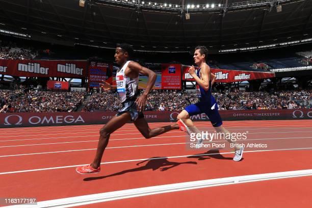Hagos Gebrhiwet of Ethiopia leads Jakob Ingebrigtsen of Norway in the Men's 5000m during Day One of the Muller Anniversary Games IAAF Diamond League...