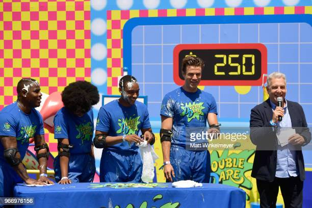 HaHa Davis Rachel Pegram Josh Johnson Matthew Broussard and Marc Summers attend Double Dare presented by Mtn Dew Kickstart at Comedy Central presents...