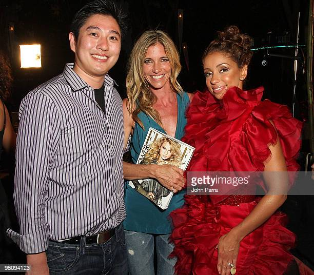 Haian Trinh Arianne Brown and Mya attend the closing party for Rock Media Fashion Week Miami Beach at Vita Restaurant Lounge on March 27 2010 in...
