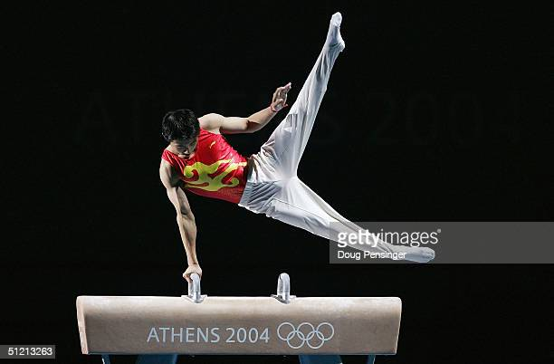 Haibin Teng of China gold medalist on the pommel horse performs in the Olympic Gymnastics Gala August 24 2004 during the Athens 2004 Summer Olympic...
