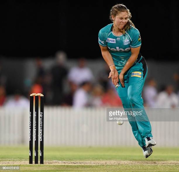 Haidee Birkett of the Heat is hit with the ball during the Women's Big Bash League match between the Brisbane Heat and the Melbourne Stars on January...