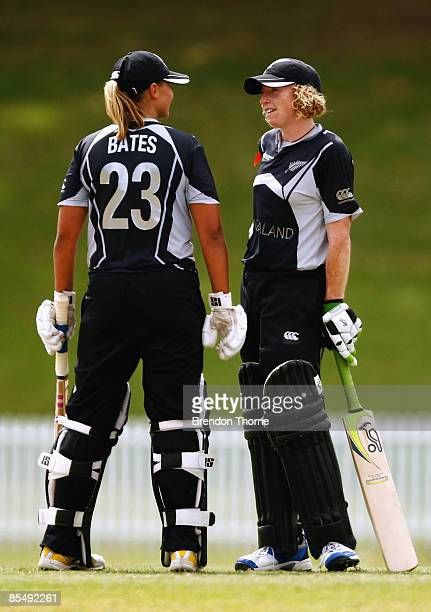Haidee Tiffen and Suzie Bates of New Zealand talk after setting a record Women's ODI 2nd wicket partnership of 262 runs during the ICC Women`s World...