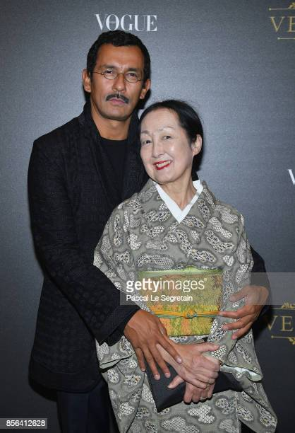 Haider Ackermann and guest attend the Irving Penn Exhibition Private Viewing Hosted by Vogue as part of the Paris Fashion Week Womenswear...