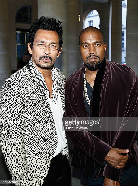 Haider Ackermann and Kanye West attend the mytheresa.com & Haider Ackermann Dinner At Le Grand Vefour as part of Paris Fashion Week Haute Couture...