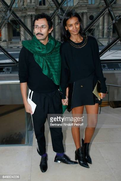 Haider Ackermann and Liya Kebede attend the Louis Vuitton show as part of the Paris Fashion Week Womenswear Fall/Winter 2017/2018 on March 7 2017 in...
