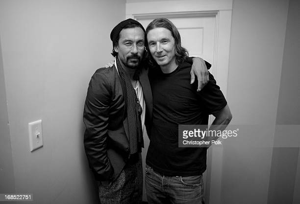 Haider Ackermann and Neville Wakefield attend a celebration hosted by Playboy and Neville Wakefield of the iconic Playmate Of The Year through...