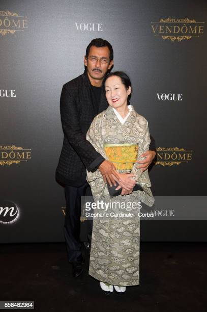 Haider Ackermann and Setsuko Klossowska de Rola attend Vogue Party as part of the Paris Fashion Week Womenswear Spring/Summer 2018 at on October 1...