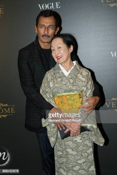 Haider Ackermann and Setsuko Klossowska de Rola attends Vogue Party as part of the Paris Fashion Week Womenswear Spring/Summer 2018 at on October 1...
