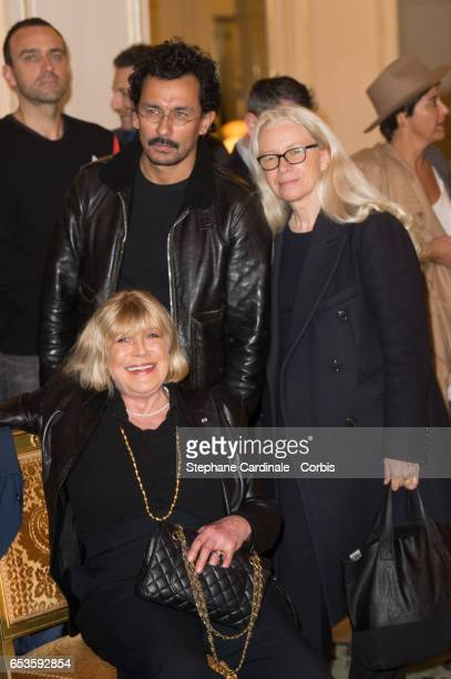 Haider Ackermann Marianne Faithfull and Dominique Issermann attend the MarieAgnes Gillot decoration's ceremony of Chevalier de l'ordre national de la...