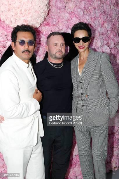 Haider Ackermann Stylist Kim Jones and Farida Khelfa pose after the Dior Homme Menswear Spring/Summer 2019 show as part of Paris Fashion Week on June...