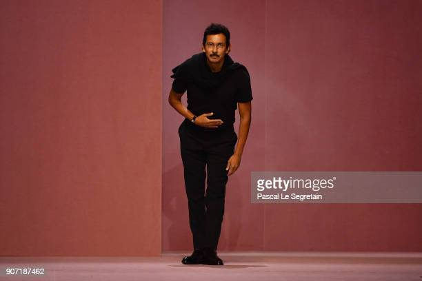 Haider Ackermann walks the runway during the Berluti Menswear Fall/Winter 20182019 show as part of Paris Fashion Week on January 19 2018 in Paris...