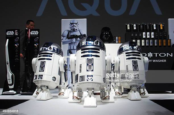 Haier's R2D2 refrigerators are displayed during the sales launching event on October 29 2015 in Tokyo Japan The fridge can cool three 500ml bottles...