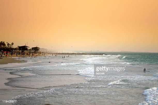 haifa beach sunset - haifa stock pictures, royalty-free photos & images