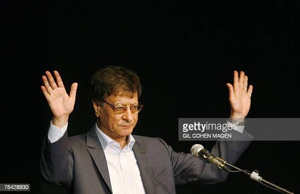 Palestinian poet and journalist Mahmoud Darwish gestures during his show in the northern Israeli city of Haifa 15 July 2007 Darwish seen as a symbol...