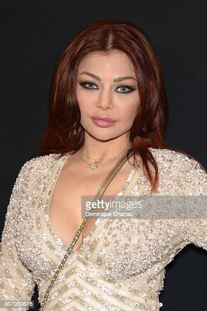 Haifa Wehbe attends the Elie Saab Haute Couture Spring Summer 2016 show as part of Paris Fashion Week on January 27 2016 in Paris France