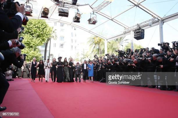 Haifaa al-Mansour, Kirsten Stewart, Lea Seydoux, Khadja Nin, Ava DuVernay, Cate Blanchett, Agnes Varda and filmmakers walk the red carpet in protest...