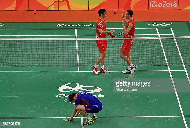 Haifeng Fu and Nan Zhang of China celebrate winning a quarterfinal match against Gi Jung Kim and Sa Rang Kim of Korea on Day 10 of the 2016 Rio...