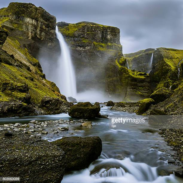 haifoss waterfall from the fossa river canyon in iceland - fossa stock photos and pictures