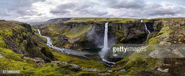 haifoss waterfall in iceland panorama - fossa stock photos and pictures