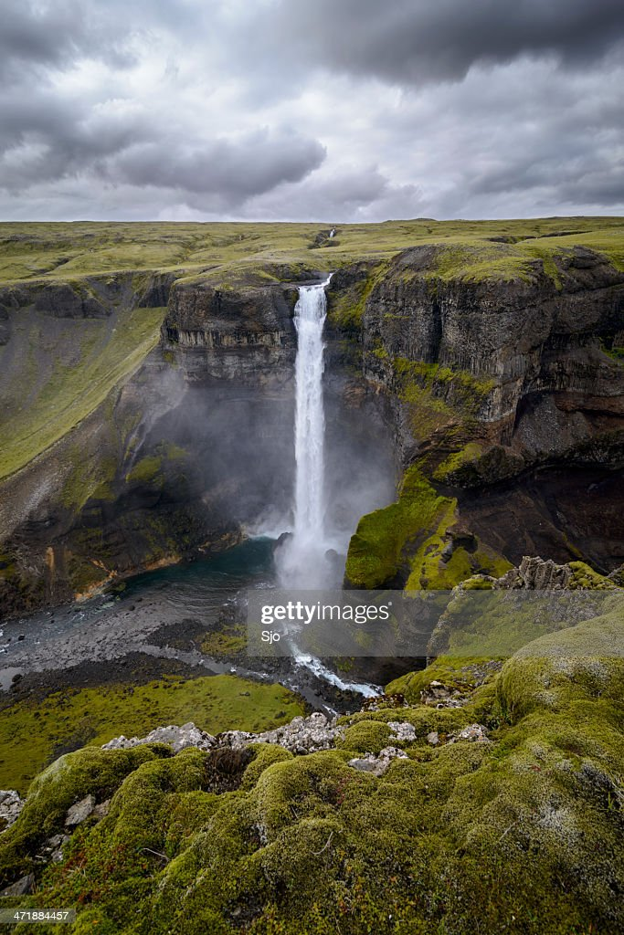 Haifoss waterfall in Iceland : Stock Photo