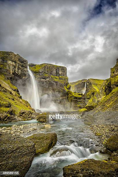 haifoss waterfall in iceland - fossa stock photos and pictures