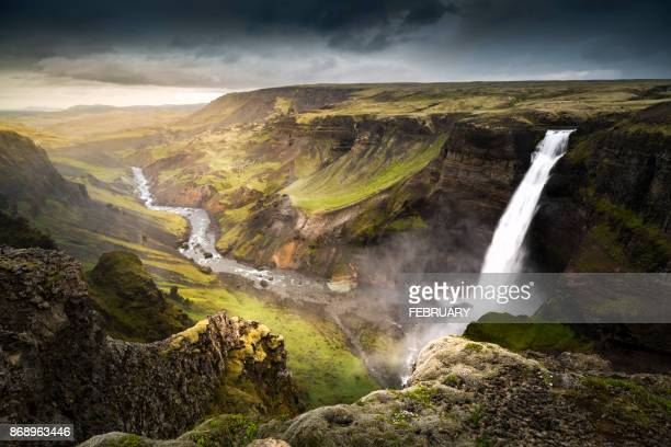 haifoss waterfall, summer,in iceland. - canyon foto e immagini stock