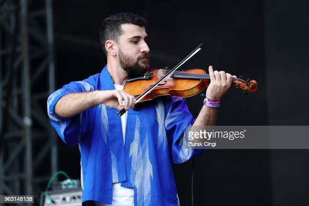 Haig Papazian of Mashrou' Leila performs on day 3 of All Points East Festival at Victoria Park on May 27 2018 in London England