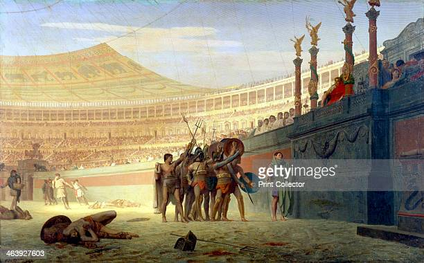 'Hail Caesar We who are about to die salute you' 19th century Depiction of Roman gladiators in the arena saluting Caesar before they enter their...