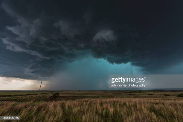 hail core thunderstorm with severe inflow winds, oklahoma. usa - inflow stock photos and pictures