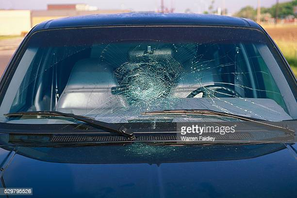 hail damage to car windshield - hail stock pictures, royalty-free photos & images