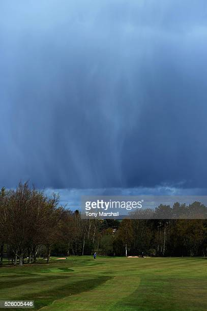 Hail falls on the 1st fairway during the PGA Professional Championship Midland Qualifier at Little Aston Golf Club on April 29 2016 in Sutton...