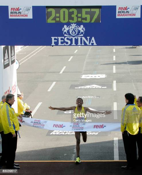 Haile Gebrselassie celeberates as he crosses the finish line of the 35th Berlin Marathon on September 28 2008 in Berlin Germany The 35yearold...